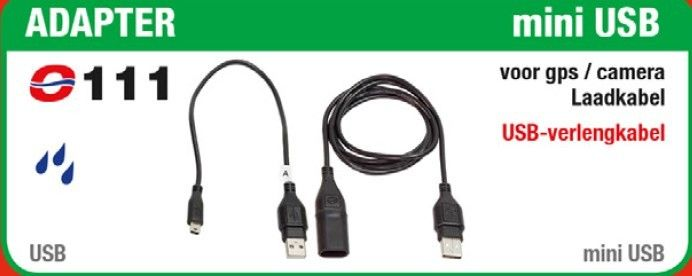 TECMATE OPTIMATE O-111 USB ADAPTER NAAR MINI USB + VERLENGKABEL 100 cm
