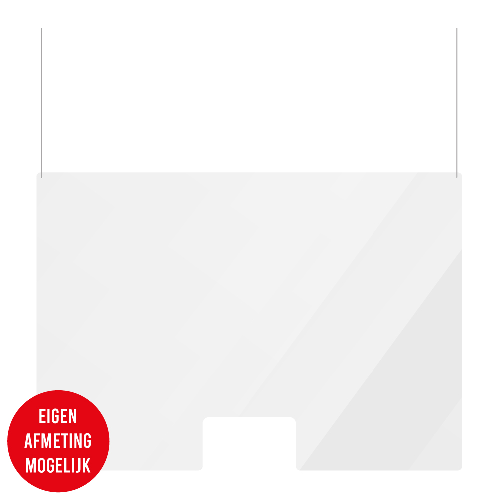 Preventiescherm Plexiglas Hangend met doorgeefsleuf