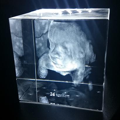 Kristallen kubus met 3D echo - 80 x 80 x 80 mm