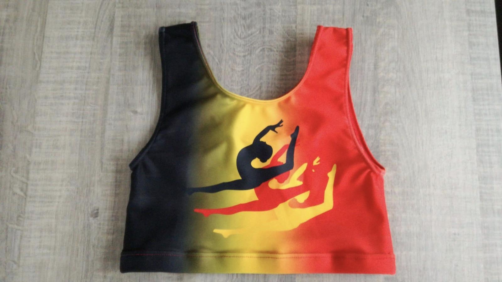 "Gymtop""Zwart geel rood"""