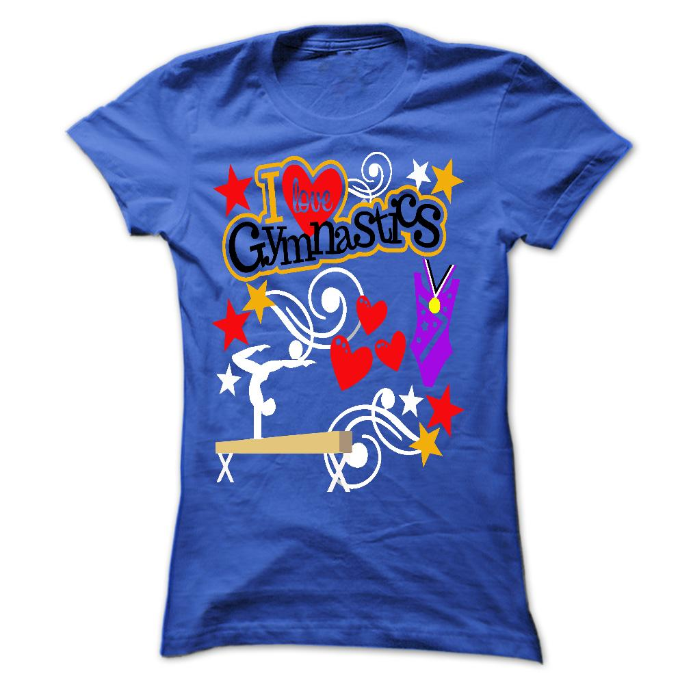 T-shirt - I Love Gymnastics - Blue