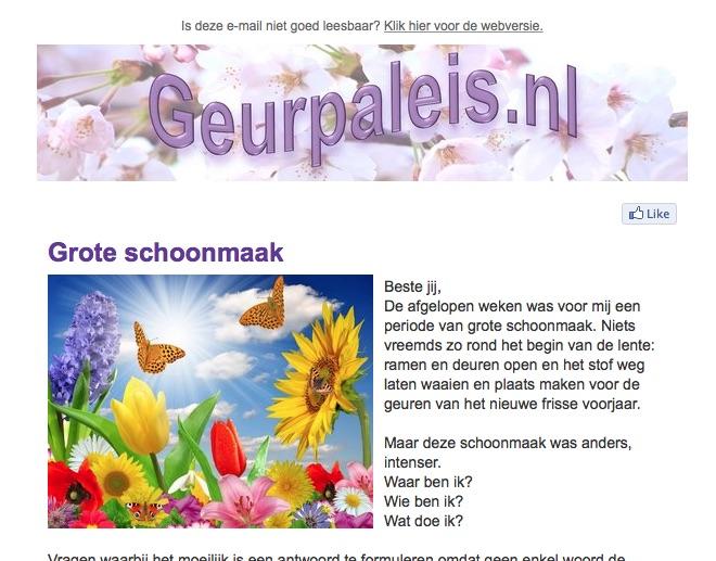 Preview nieuwsbrief Geurpaleis Lente 2015