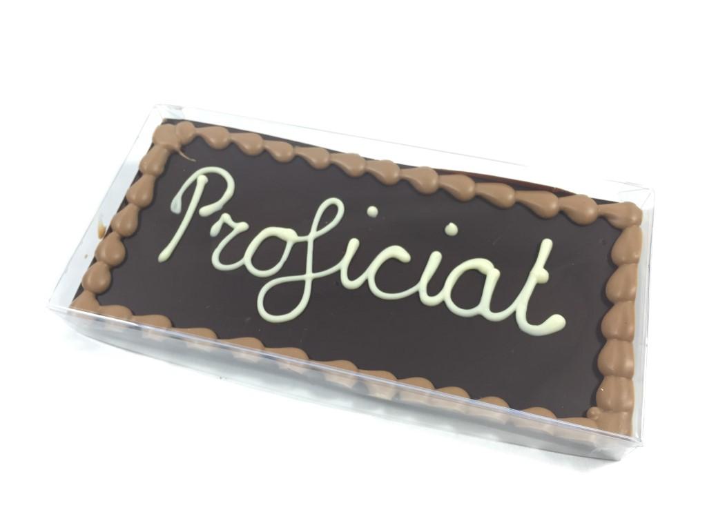 Chocoladetablet puur met tekst Proficiat