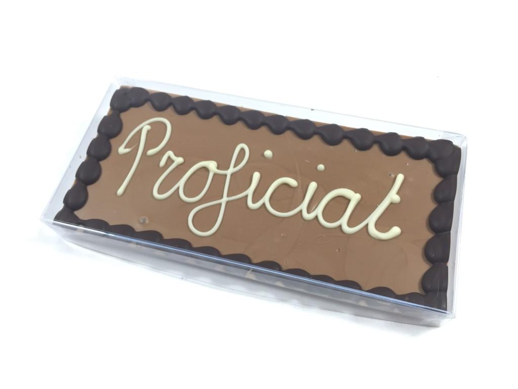 Chocoladetablet melk met tekst Proficiat