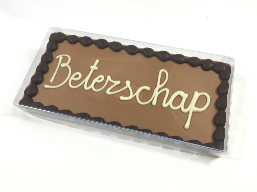 Chocolade reep - tablet melk met tekst Beterschap (225 gram)