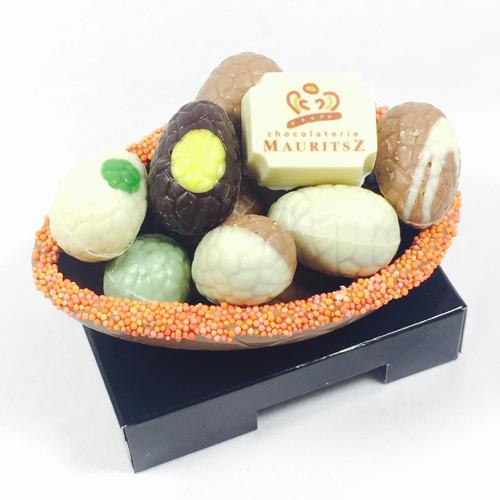 Bonbonnière met paaschocolade - melk (225 gram)