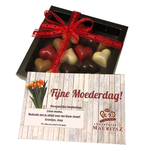 Brievenbuscadeau Moederdag met hartjes inclusief kaartje persoonlijke boodschap! (240 gram) (gratis verzending)