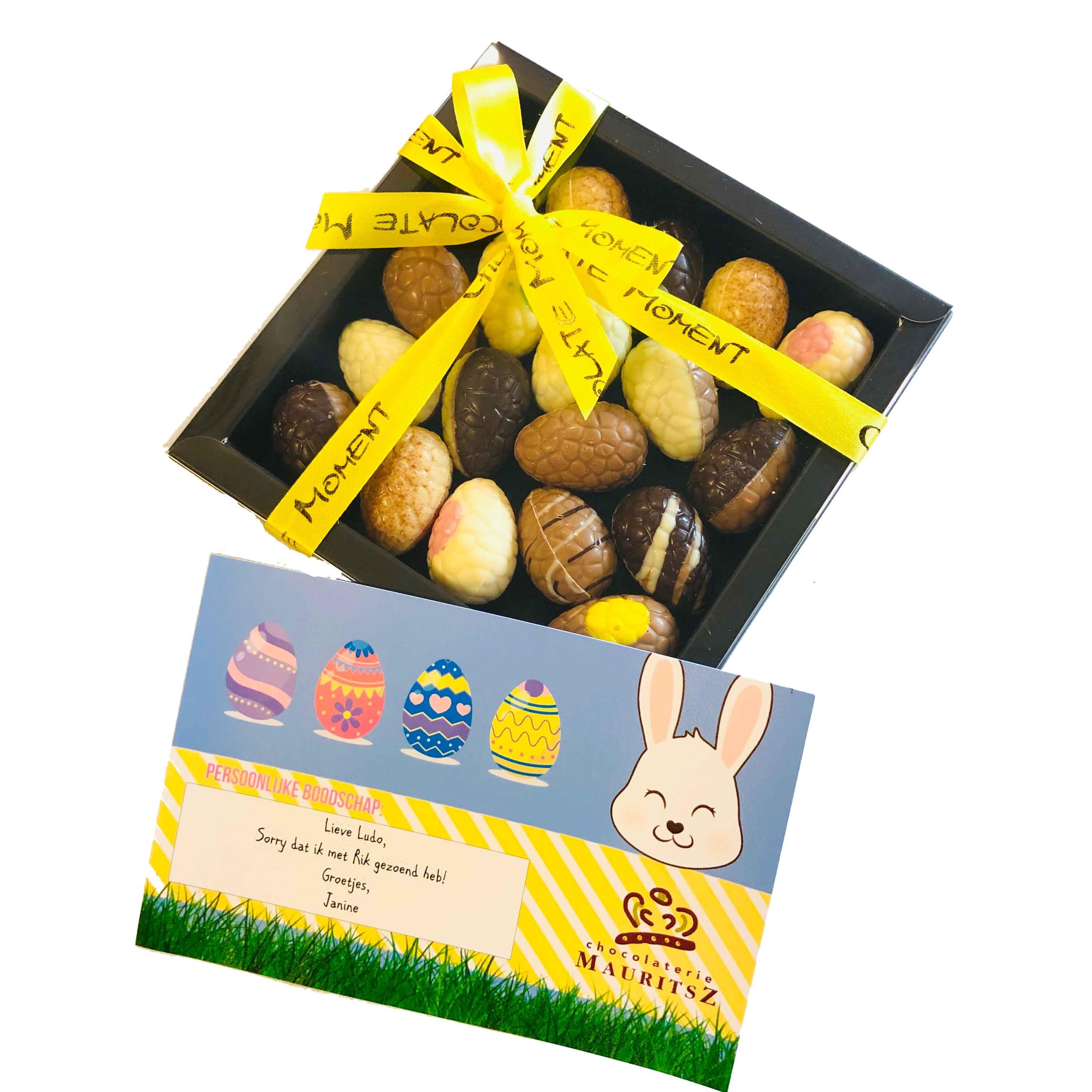Brievenbuscadeau met assorti Paaseitjes inclusief kaartje persoonlijke boodschap! (240 gram) (gratis verzending)