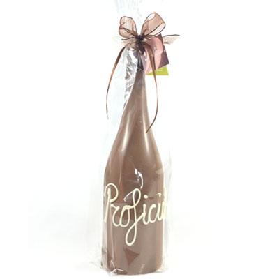 Chocolade champagnefles melk met felicitatie tekst Proficat