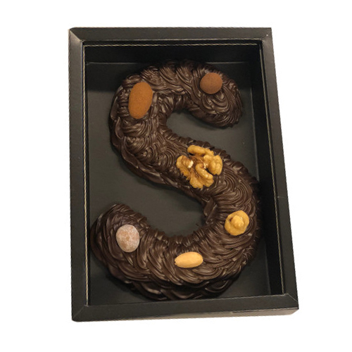 Chocolade letter puur Handgespoten, incl 6% Btw