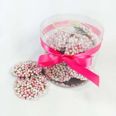 Geboortecadeau chocolade meisje: flikken met roze en witte muisjes