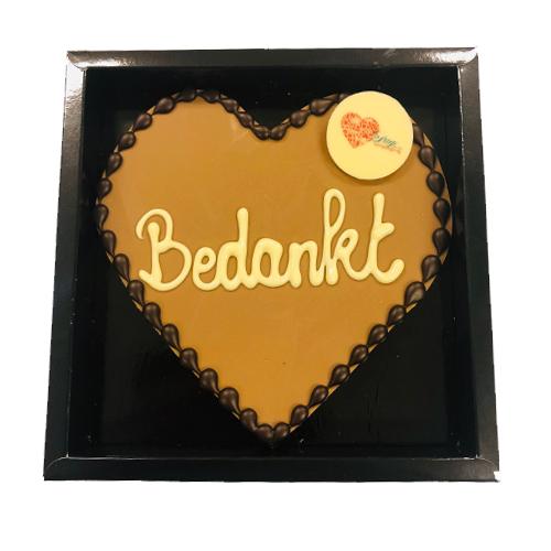 Chocoladehart met tekst 'Bedankt' inclusief galette met eigen afbeelding (200 gram)
