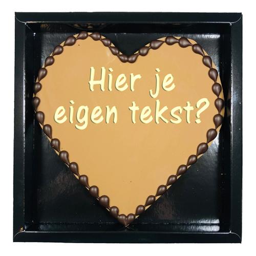 Chocolade hart Valentijn 250 gram - hart melk met tekst