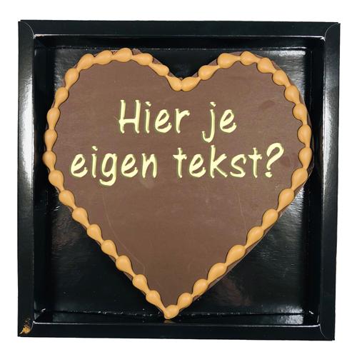 Chocolade hart Valentijn 250 gram - hart puur met tekst