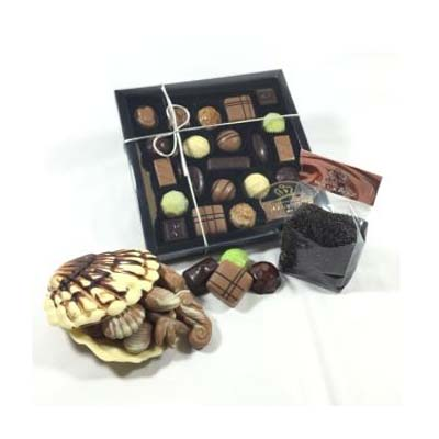 Chocolade verwenpakket (bonbons, schelp met zeebanket en pure hagelslag)