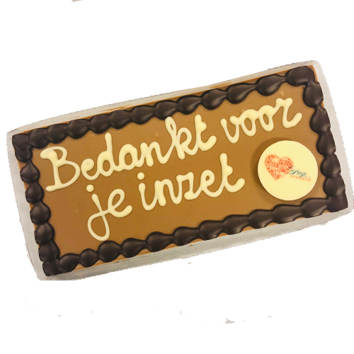 Chocolade reep met tekst 'Bedankt voor je inzet' (225 gram) inclusief galette met eigen logo