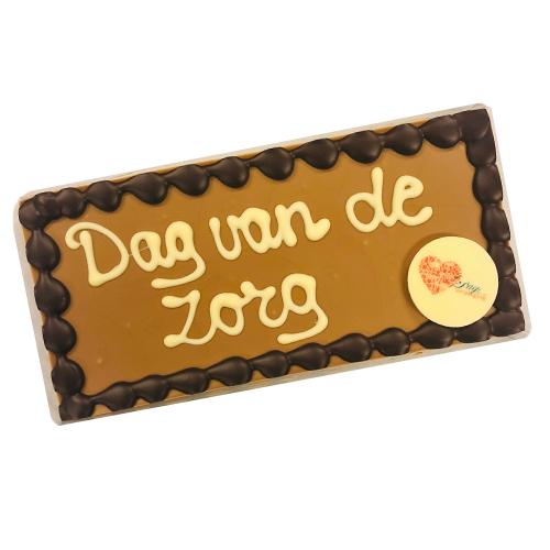 Chocolade reep met tekst 'Dag van de zorg' (225 gram) inclusief galette met eigen logo