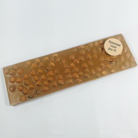 Grote chocolade reep - tablet melk hazelnoot met tekst 'Speciaal voor jou' (350 gram)