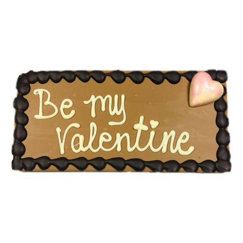 Grote chocolade reep Valentijn - tablet melk met tekst