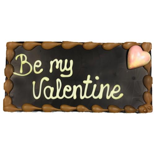 Grote chocolade reep Valentijn - tablet puur met tekst