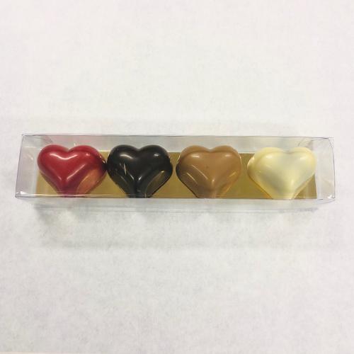 Praliné hartjes in geschenkverpakking (4 stuks)