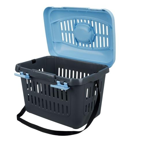 Trasport  koffer donkergrijs met deksel licht blauw