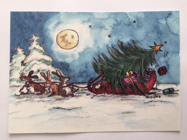 konijnen kerst kaart