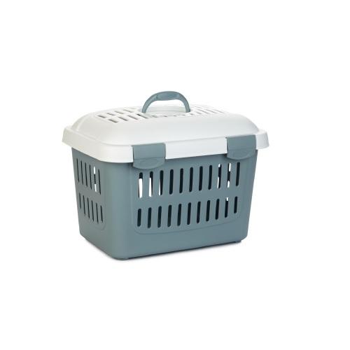 Trasport  koffer met deksel blauw grijs