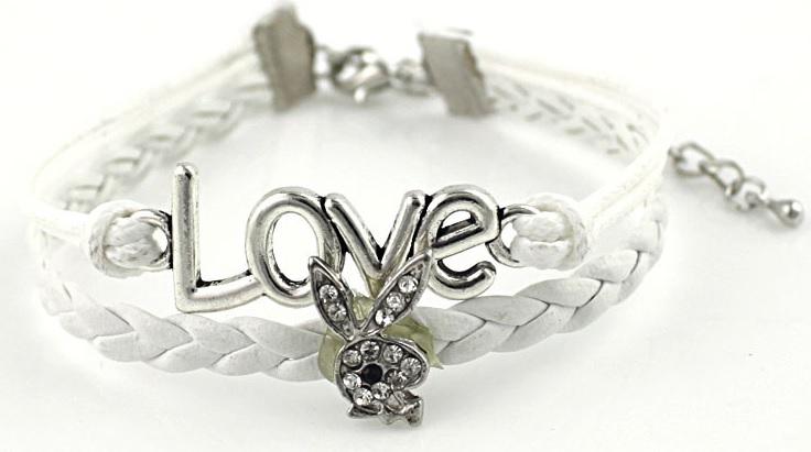 wite love konijn armband