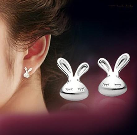 zilveren konijnen oorbellen