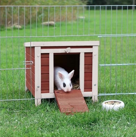 Groot konijnen schuilhuis bruin met wit