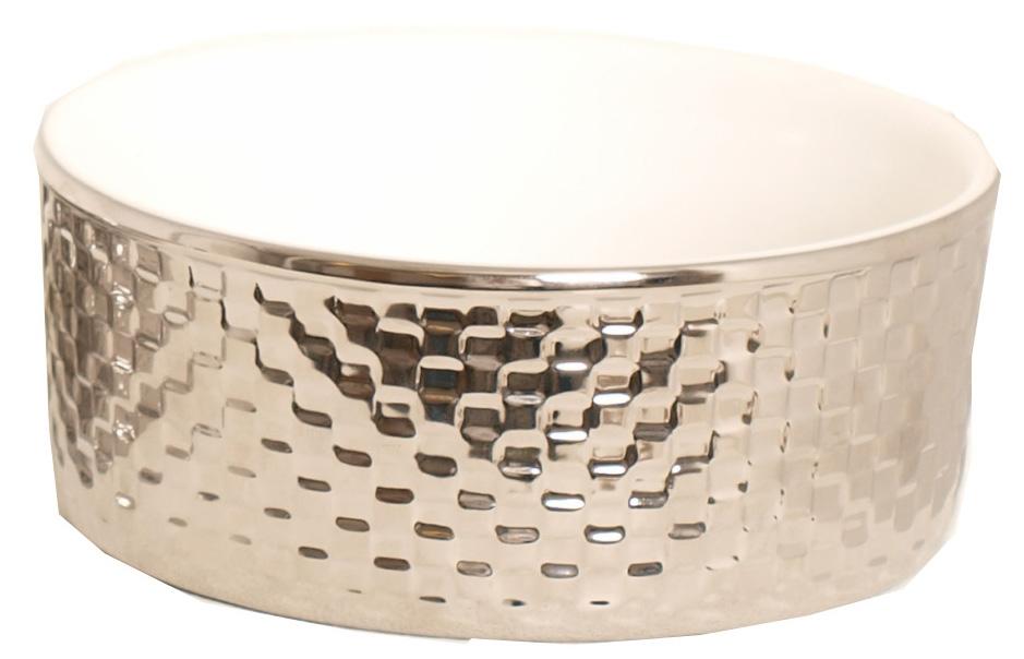 voerbak zilver ruit 13 cm