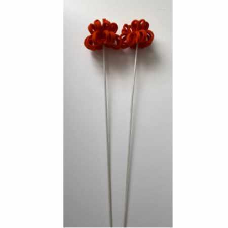 Vilten bloemen oranje - twee