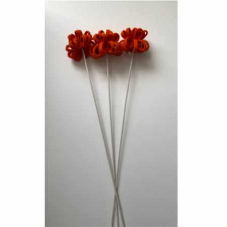 Vilten bloemen oranje - drie