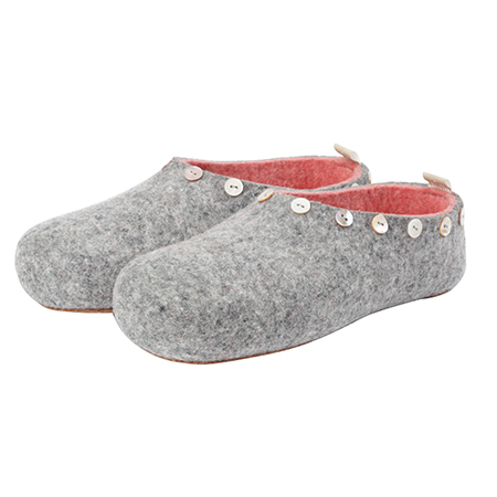 Vilten damesslof Button grey