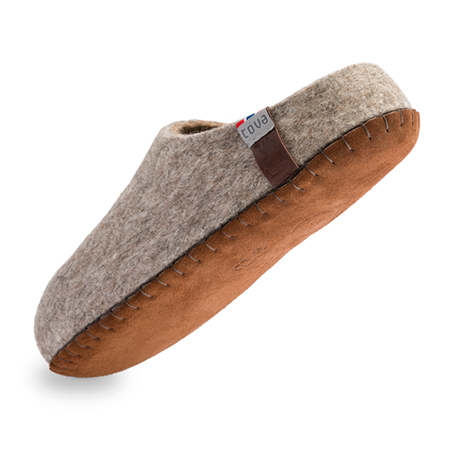 Vilten herenslof Slipper Camel