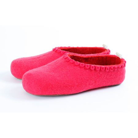 Kinder-Filzschuhe Felt Button Leuchtend rosa