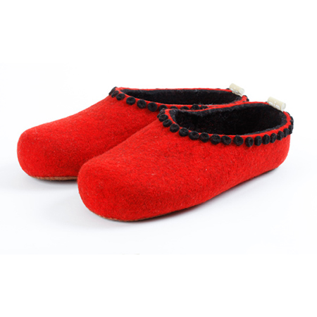 Vilten damesslof Felt Button red