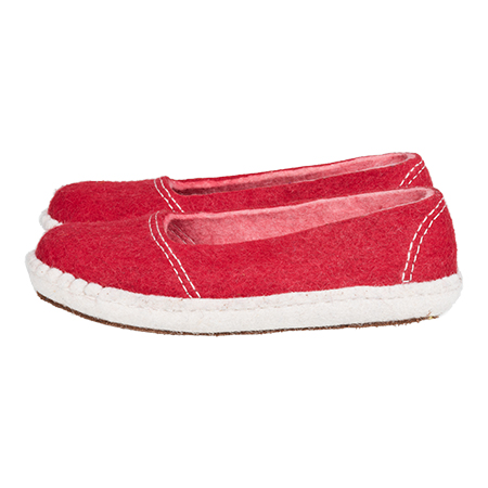 Vilten damesslof Ballerina Red