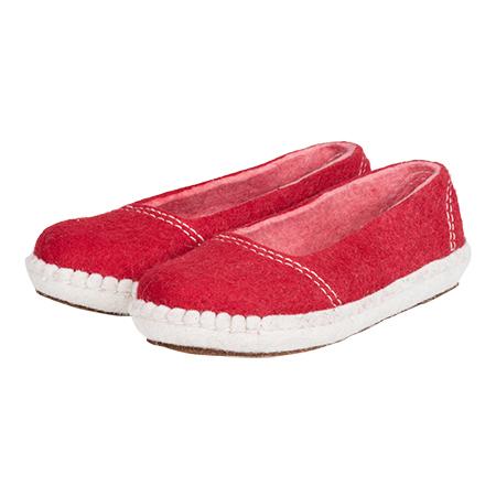 Damen-Filzschuhe Ballerina Rot