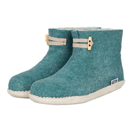 Vilten damesslof High Boots seagreen