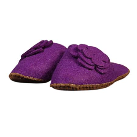 Damen-Filzschuh Blume Violett