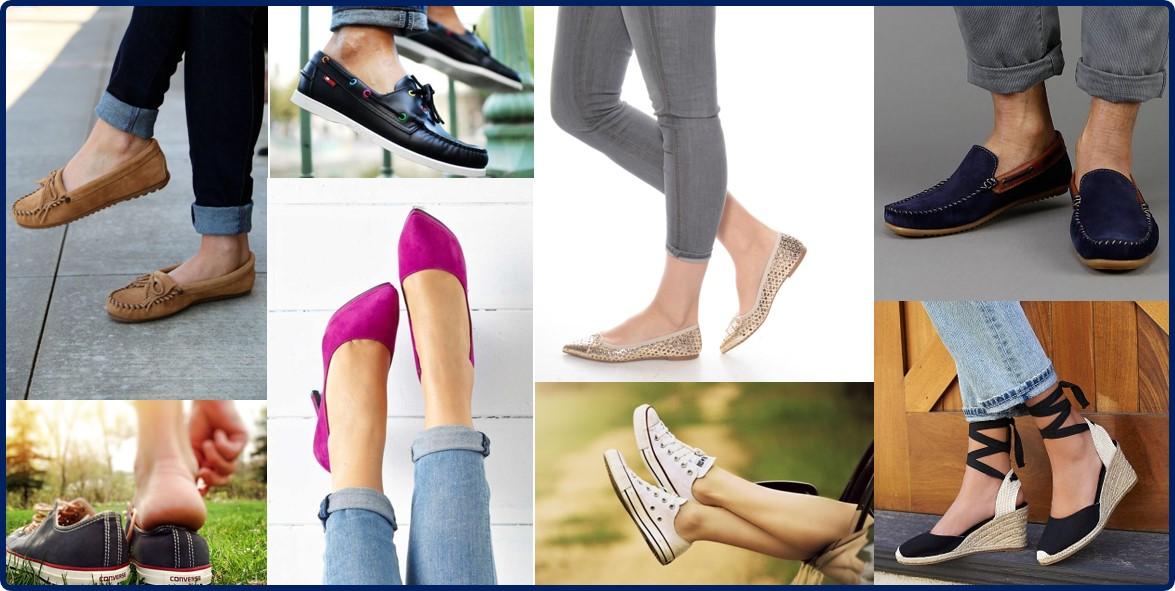 voorbeelden van schoenen gedragen zonder sokken