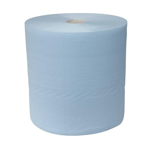 Industrie papier blauw cellulose, verlijmd. 380mx24cm. 3-laags verpakking 2 rol