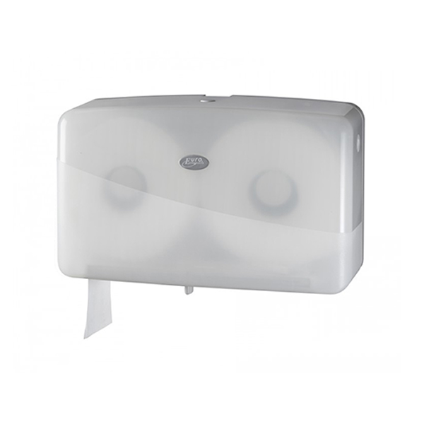 Euro Pearl WHITE jumbo duo-mini toiletrolhouder