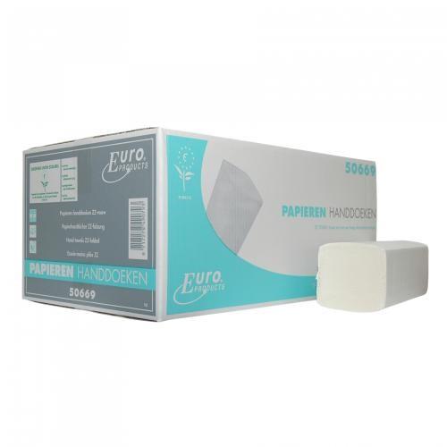 Gevouwen handdoekje Z-vouw 2-laags tissue wit. 21x24cm. 16x199st. (3184)