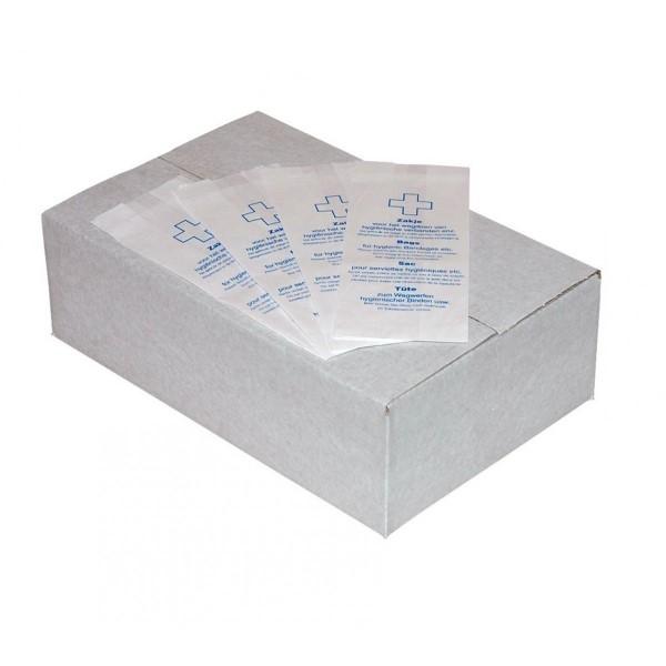 Damesverbandzakjes papier 27,5x11/7cm. 1000 zakjes in doos