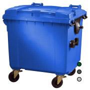 Kunststof Container 1100 ltr vlak deksel leverbaar in diverse kleuren.