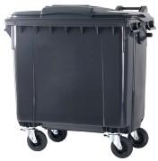 Kunststof Container 770 ltr vlak deksel leverbaar in diverse kleuren.