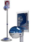 Germstar vloerstandaard wit/blauw inclusief NON-TOUCH alcoholdispenser